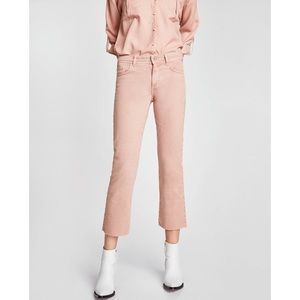 ZARA CROPPED CULOTTES STRAIGHT JEANS - PINK SIZE 6